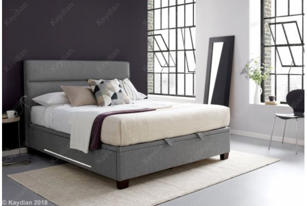 Kaydian Chilton - 2x Light & USB Ports Ottoman Fabric Bed Frame