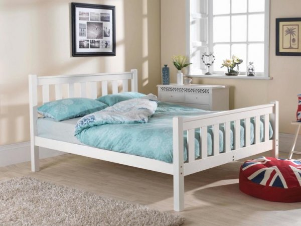 Shaker High Foot White Custom Single Size Bed Frame
