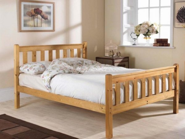 Shaker High Foot Natural Custom Double Size Bed Frame