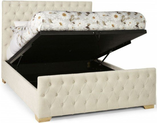Serene Lillian Ottoman Storage Fabric Bed Frame