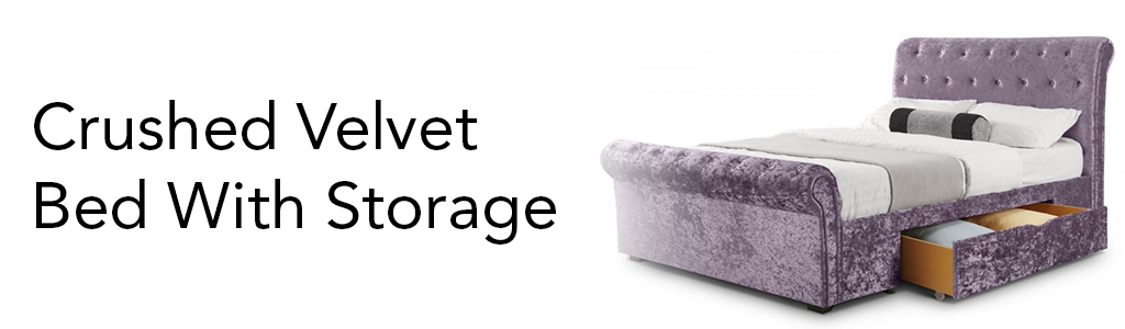 Crushed Velvet Bed With Storage Banner