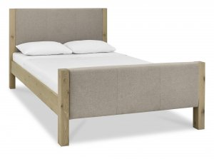 Bentley Designs Turin Aged Oak Upholstered High Footend Bed Frame