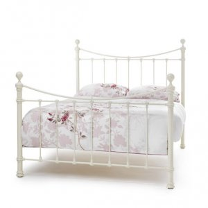 Serene Ethan Ivory Gloss Precious Metal Bed Frame