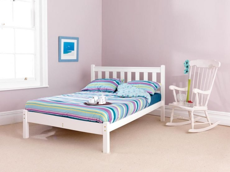 Shaker Low Foot White Custom King Size Bed Frame